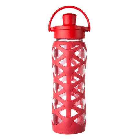 22 oz Glass Water Bottle with Active Flip Cap and Silicone Sleeve, Charged Red