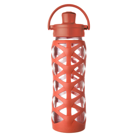 22 oz Glass Water Bottle with Active Flip Cap and Silicone Sleeve, Golden Gate Orange