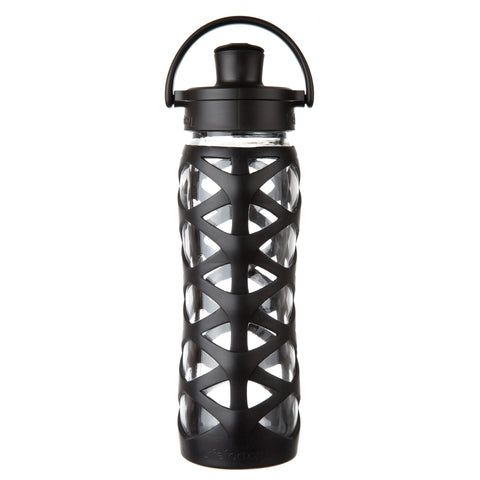 22 oz Glass Water Bottle with Active Flip Cap and Silicone Sleeve, Onyx