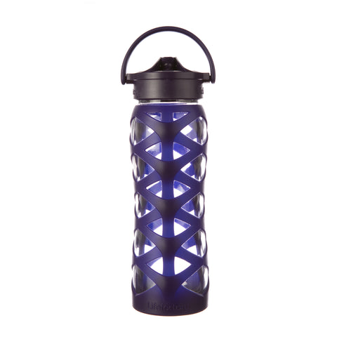 Lifefactory 22 oz Glass Water Bottle with Axis Straw Cap and Silicone Sleeve, Aubergine