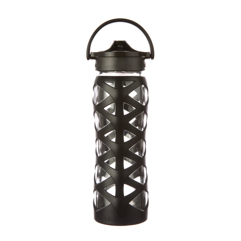 Lifefactory 22 oz Glass Water Bottle with Axis Straw Cap and Silicone Sleeve, Onyx