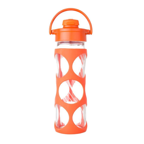 16 oz Glass Bottle with Flip Top Cap and Silicone Sleeve - Bright Orange Wave