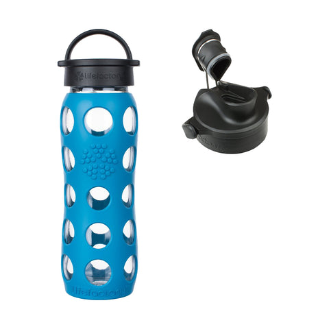 22 oz Teal Lake Glass Bottle Core 2.0 with Classic Cap, Silicone Sleeve Core & Onyx Active Flip Cap