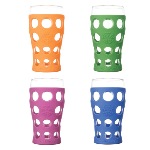 20oz Beverage Glass - 4pk - Multi Color (Huckleberry, Orange, Grass Green, Cobalt)