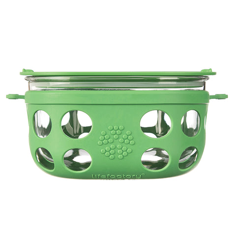 4 Cup Glass Food Storage - Grass Green