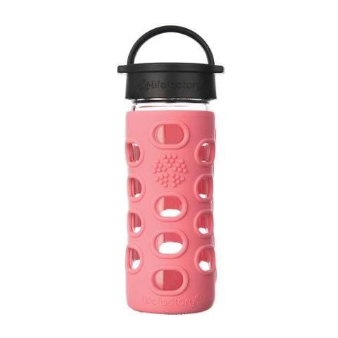 12 oz Glass Water Bottle with Classic Cap and Silicone Sleeve - Coral