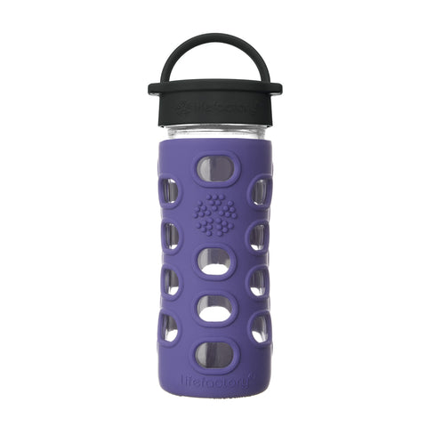 12 oz Glass Water Bottle with Classic Cap and Silicone Sleeve - Iris