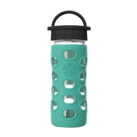 12 oz Glass Water Bottle with Classic Cap and Silicone Sleeve - Kale