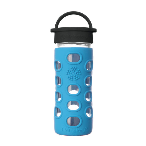 12 oz Glass Water Bottle with Classic Cap and Silicone Sleeve - Cobalt Blue