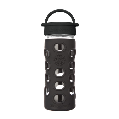 12oz Glass Water Bottle with Classic Cap and Silicone Sleeve - Onyx