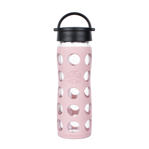 16 oz Glass Water Bottle with Classic Cap and Silicone Sleeve - Desert Rose