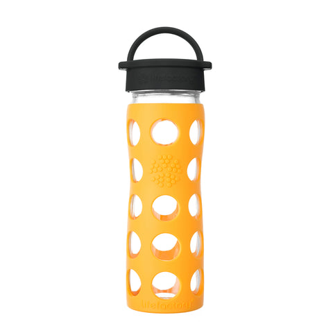 16 oz Glass Water Bottle with Classic Cap and Silicone Sleeve - Marigold