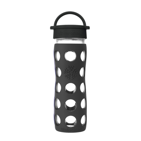16 oz Glass Water Bottle with Classic Cap and Silicone Sleeve - Onyx