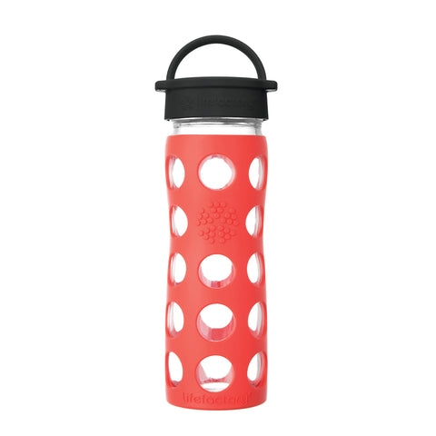 16 oz Glass Water Bottle with Classic Cap and Silicone Sleeve - Poppy