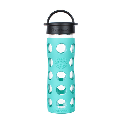 16 oz Glass Water Bottle with Classic Cap and Silicone Sleeve - Sea Green