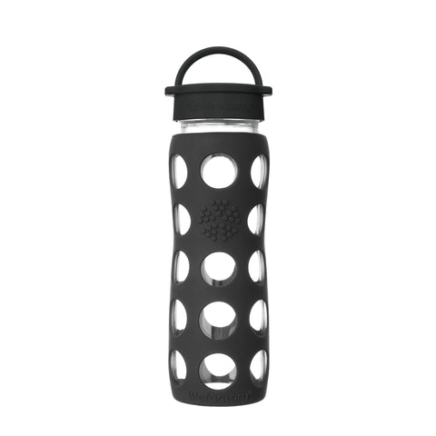 22 oz Glass Water Bottle with Classic Cap and Silicone Sleeve - Onyx