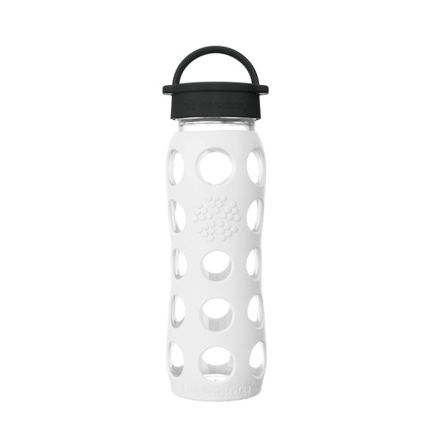 22 oz Glass Water Bottle with Classic Cap and Silicone Sleeve - Optic White