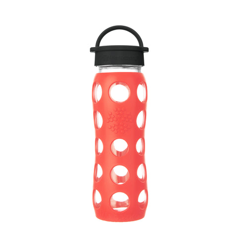 22 oz Glass Water Bottle with Classic Cap and Silicone Sleeve - Poppy