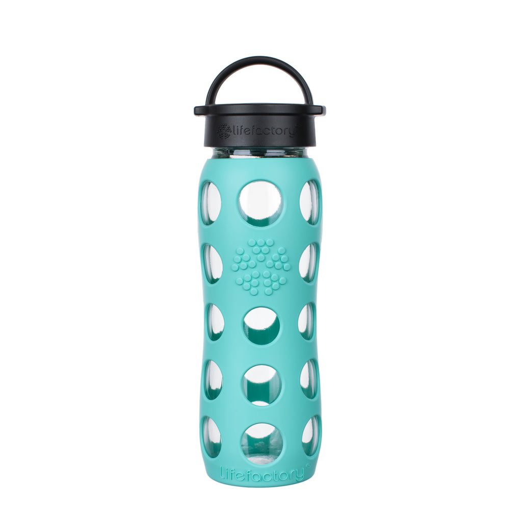 22 oz Glass Water Bottle with Classic Cap and Silicone Sleeve - Sea Green