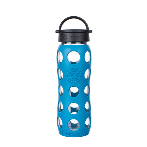 22 oz Glass Water Bottle with Classic Cap and Silicone Sleeve - Teal Lake