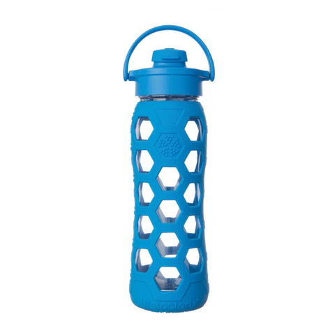 22 oz Glass Bottle with Flip Cap - Ocean (HEX Sleeve)