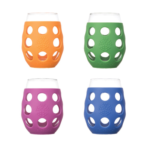 11oz Wine Glass - 4pk - Multi Color (Huckleberry, Orange, Grass Green, Cobalt)