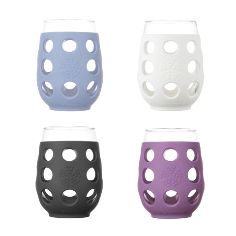 17 oz Wine Glass - 4pk - Multi-pack (Optic White, Carbon, Wysteria, Glacier)