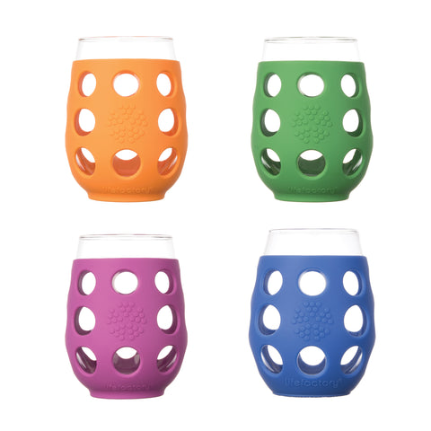 17 oz Wine Glass - 4pk - Multi Color (Huckleberry, Orange, Grass Green, Cobalt)