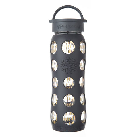 22 oz Glass Bottle with Classic Cap and Silicone Sleeve with Fused Gold, Onyx Dash