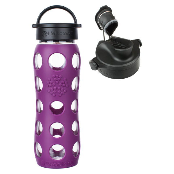 22 Oz Plum Glass Water Bottle With Classic Cap Silicone