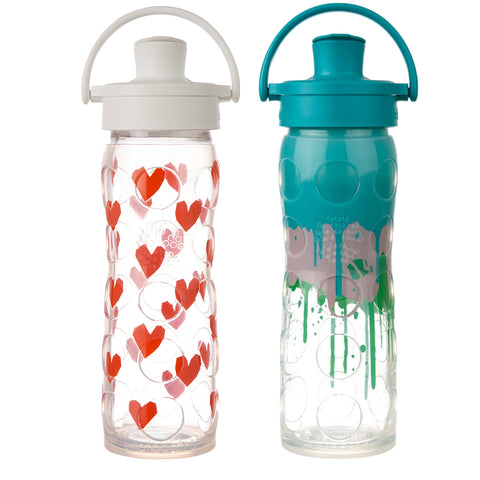 16 oz. Glass Water Bottles with Active Flip Cap in Tru Luv & Ultramarine Splash