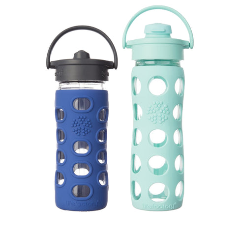 12 oz Glass Bottle (Straw Cap) in Cobalt & 16 oz Glass Bottle (Flip Cap) in Turquoise