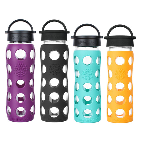22 oz. Glass Water Bottles with Classic Cap (Plum, Onyx) & 16oz. Glass Water Bottles with Classic Cap (Marigold, Sea Green)