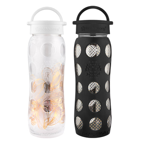 22 oz. Glass Bottles with Classic Cap with Fused Gold in Optic White Floral & Onyx Organic