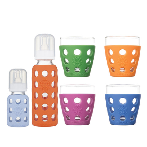 4 oz & 9 oz Glass Baby Bottles (Blanket, Papaya) & 4-Pack 10 oz Beverage Glasses (Huckleberry, Orange, Grass Green, Cobalt)