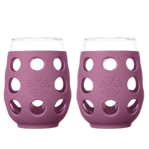 17 oz Wine Glass 2 Pack Silicone Sleeve, Wisteria