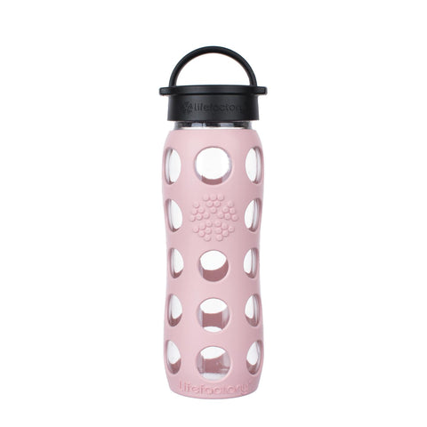 22 oz Glass Water Bottle with Classic Cap and Silicone Sleeve - Desert Rose