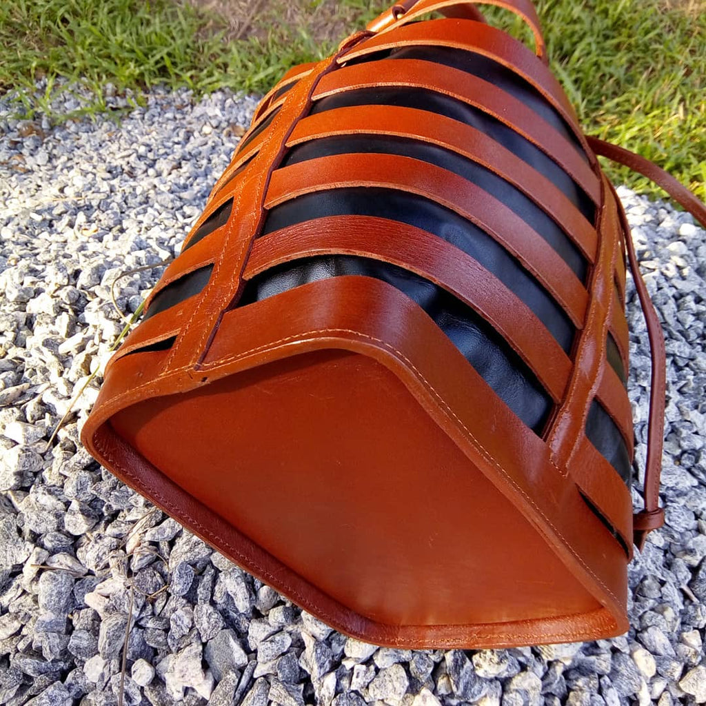 Brown Leather Bucket Basket
