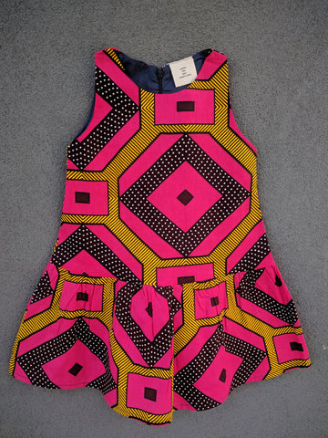 Girls Drop-waist Dress in Pink and Dots