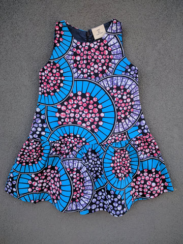 Girls Drop-waist Dress in Blue and Pink