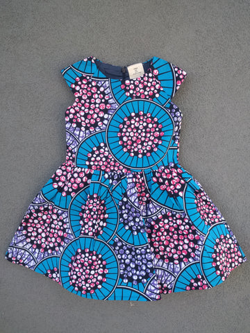Girls Fit-and-flare Dress in Blue and Pink