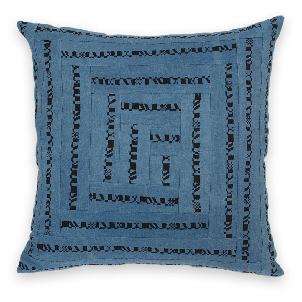 Indigo Meridian Patchwork Pillow Cover
