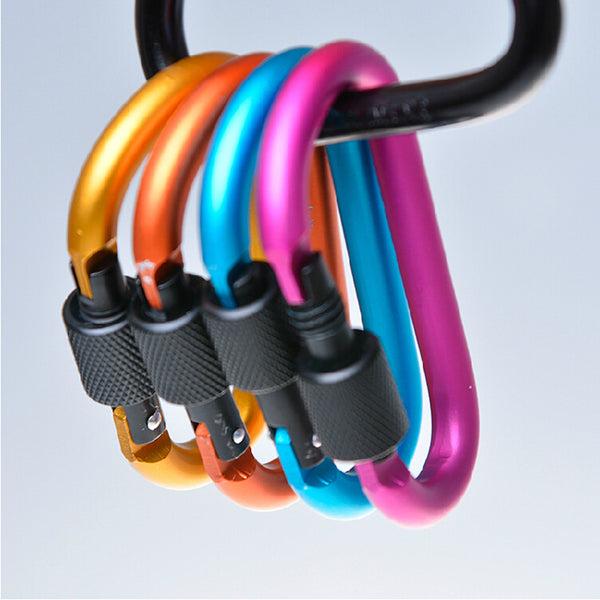 High Quality Multi Color Carabiner Safety Buckle With Lock - Aluminium Alloy - Camping, Outdoors, Survival, Tactical Gear