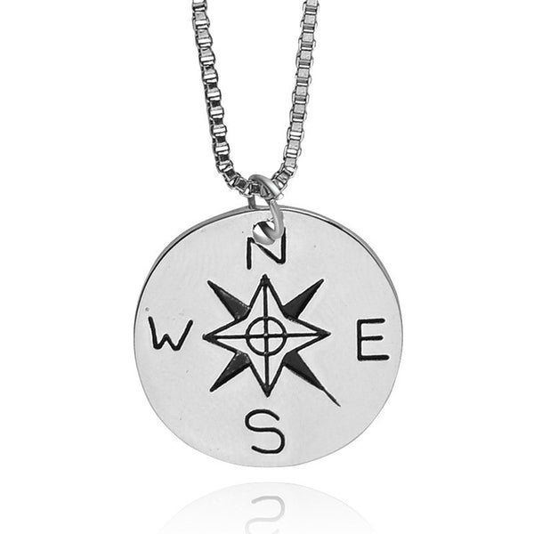 "Compass Necklace - Alloy Jewelry - ""NOT ALL WHO WANDER ARE LOST"""