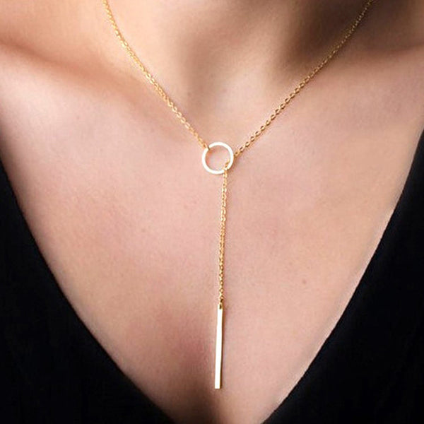 Hot Fashion Gold Plated Metal Chain Bar Circle Lariat Necklace with Long Strip Pendant
