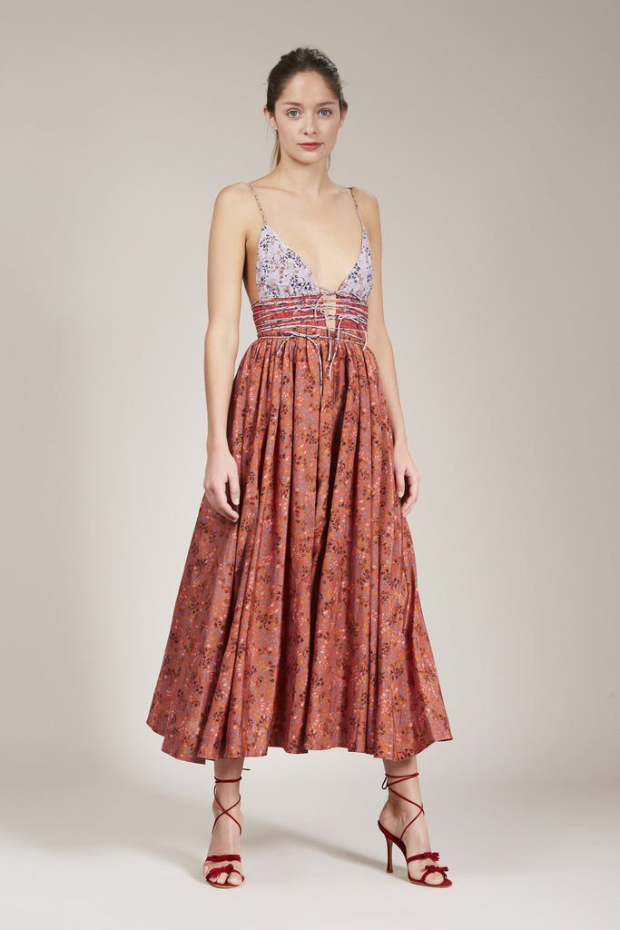 The Leni Midi Dress by Elliette in Rust, Red and Pinky Lav