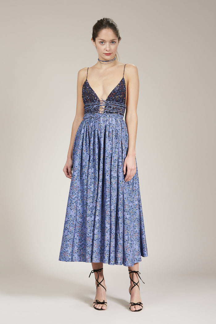 The Leni Midi Dress by Elliette in Navy and Vista Blue