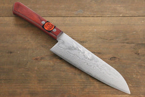 Shigeki Tanaka VG10 17 Layer Damascus Hand Forged Japanese Chef's Santoku Knife 165mm - Seisuke Knife