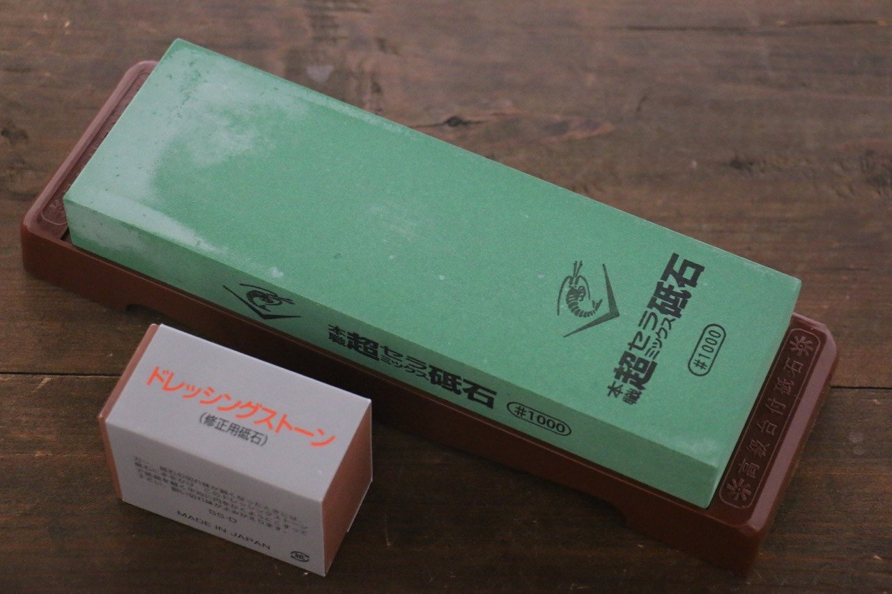 Naniwa Ceramic Medium Sharpening Stone with Plastic Base - #1000 - Seisuke Knife