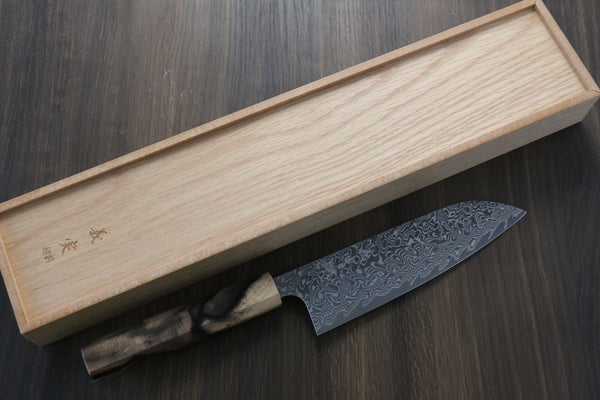 Yoshimi Kato R2/SG2 Damascus Santoku Japanese Knife 165mm with Black Persimmon Handle A - Seisuke Knife